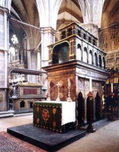 The Shrine of St Edward, with the tomb of Henry III in the background.